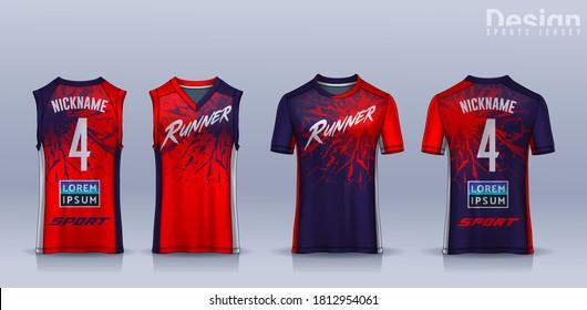 t-shirt sport design template, Soccer jersey mockup for football club, Running singlet,basketball Tank top.