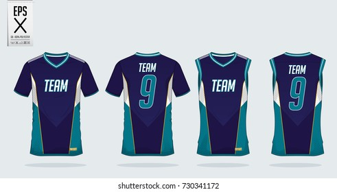 T-shirt sport design template for soccer jersey, football kit and tank top for basketball jersey. T-shirt uniform in front view and back view. Sportswear t shirt mock up for sport club. Vector.