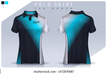 t-shirt sport design for women,  Jersey mockup.  Polo Uniform template.