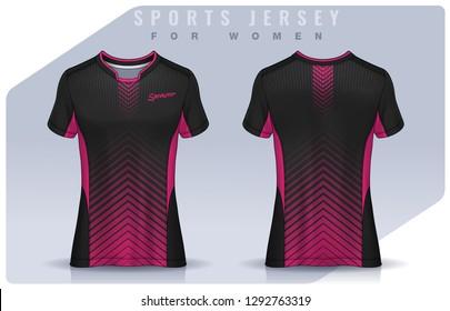 t-shirt sport design for women, Soccer jersey mockup for football club. uniform template.