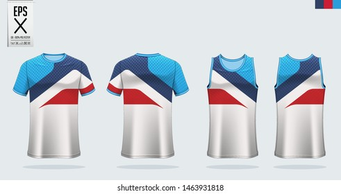 T-shirt sport mockup template design for soccer jersey, football kit, tank top for basketball jersey and running singlet. Sport uniform in front view and back view.  Vector Illustration.