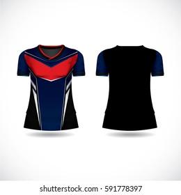 t-shirt sport red and dark blue design