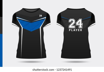 T-shirt sport template design for soccer, football and basketball. uniform in front and back view vector design.