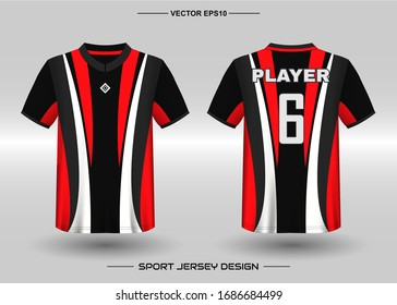 T-shirt sport vector design template, Soccer jersey mockup for football club. uniform front and back view. Clothing for Men adult. Can use for printing, branding logo team, squad, match event