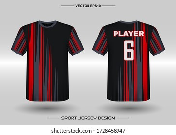 T-shirt sport vector design template, Soccer jersey mockup for football club. uniform front and back view. Clothing Men adult. Can use for printing, branding logo team, squad, match event, tournament