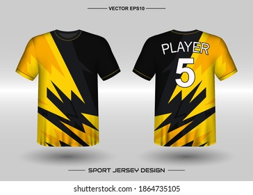 T-shirt sport vector with geometric design template. Soccer jersey mockup for football club. Adult Uniform, front and back view. Men' Clothing. Can use for printing, branding logo team, squad, match event, tournament
