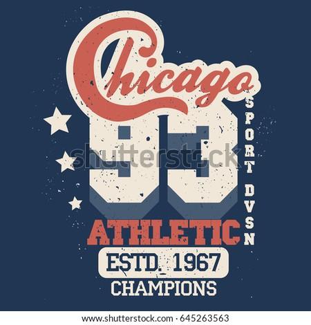 5cdbbdd7 T-shirt stamp Chicago graphic set, Sport wear typography emblem, vintage tee,  athletic apparel design print. vector - Vector