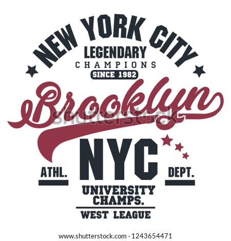 99f5050f T-shirt stamp graphic, New York Sport wear typography emblem Brooklyn  vintage tee print, athletic apparel design shirt graphic print. vector -  Vector