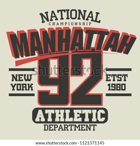10aa3c14 T-shirt stamp graphics, New York City Sport wear typography emblem, tee  print, athletic apparel design. Vector - Vector
