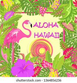 TShirt summery print with Aloha Hawaii lettering, pink flamingo, tropical leaves, hot sun and purple hibiscus for bag, Tshirt, summer party poster and other design