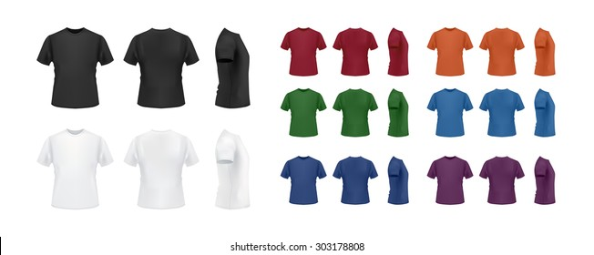 T-shirt template colorful set, front, back side view. Vector eps10 illustration.