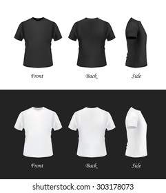 T-shirt template, front, side, back view. Black and white t-shirts on white and black backgrounds. Vector eps 10 illustration.