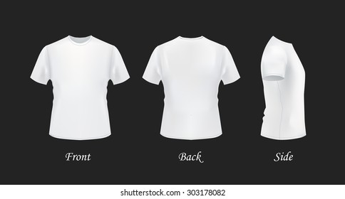 T-shirt template, front, side, back view. White t-shirts on black background, vector eps 10 illustration.