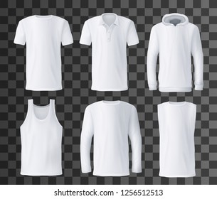 T-shirt template with front view of white men shirts mockup. Polo, hoodie and tank top, hooded sweatshirt, long sleeve and sleeveless t-shirts 3d vector on transparent background. Advertisement design
