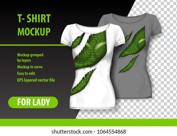 T-Shirt template, fully editable with torn clothes. EPS 10 Vector Illustration.