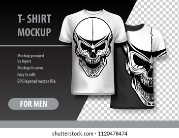T-Shirt template, fully editable with Vintage Skull tatoo style. EPS 10 Vector Illustration.