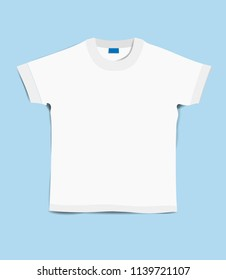 T-shirt template. T-shirt on a blue background. Beautiful white t-shirt on a blue background. T shirt mockup. Front side. Isolated. Flat style. Flat design. Vector illustration Eps10 file