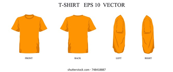 T Shirt Template Orange Set Front Back Left Right View