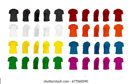 T-shirt template set of different colors, blank shirts front, side, perspective, rear views, different angles, vector eps10 illustration