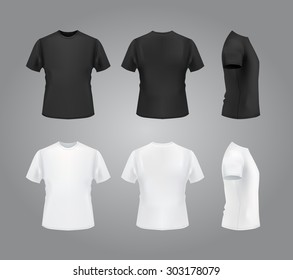 T-shirt template set, front, side, back view. Vector eps 10 illustration.
