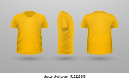 T-shirt template set, front, side, back view. Yellow color. Realistic vector illustration in flat style. Sport clothing. Casual men wear. Cotton unisex polo outfit. Fashionable apparel.