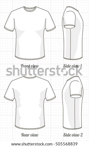 Tshirt Template Set Front Side Back Stock Vector Royalty Free