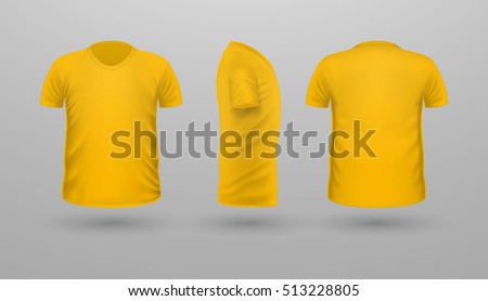 T Shirt Template Set Front Side Back View Yellow Color