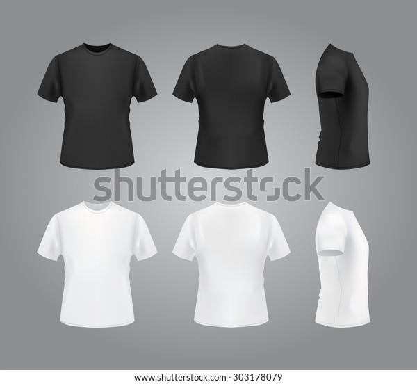 T-shirt template set, front, side, back view mockup. Vector eps 10 illustration.