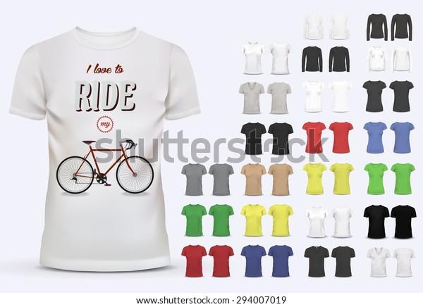 T-shirt modello set per uomini e donne, realistico gradiente mesh vetor eps10 illustrazione.