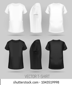 T-shirt template in three dimentions: front, side and back view, realistic gradient mesh vetor. black and white colors.