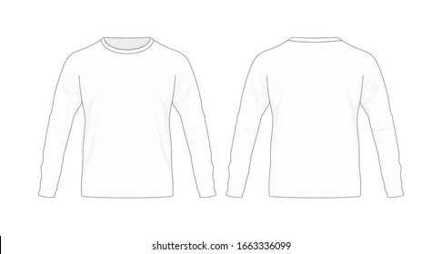T-shirt template/mockup long sleeve for designs in vector format. Colors and gradients are easily modified, shadows can be hidden