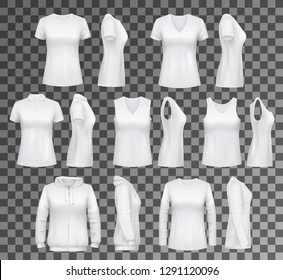 T-shirt templates with hoodie and sweatshirt, polo and singlet or sleeveless shirt. Isolated vector female clothes white mockups, casual garments design. Everyday women outfit elements on transparent