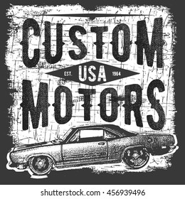 T-shirt typography design, retro car vector, printing graphics, typographic vector illustration, vintage car graphic design for label or t-shirt print, Badge, Applique.