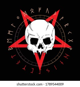 T-shirt vector design of a white skull over an red inverted star and runic characters isolated on black. Skull drawing for poster or t-shirt.