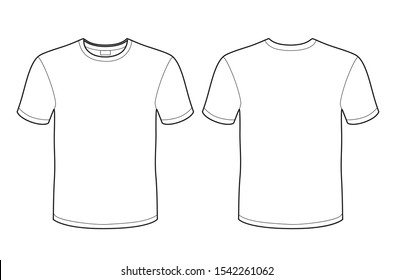 T-shirt vector template (front and back) isolated on white background.