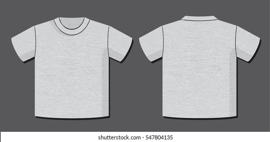 T-Shirt Vector Template with Front and Back View of the Unisex Garment Design - Light Heather Grey Elements on Dark Grey Background - Flat Graphic Style