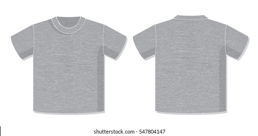 T-Shirt Vector Template with Front and Back View of the Unisex Garment Design - Dark Heather Grey Elements on White Background - Flat Graphic Style