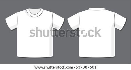 T Shirt Vector Template With Front And Back View Of The Unisex Blank Garment Design