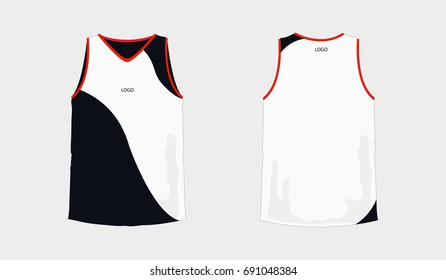 T-shirt white and black basketball or football template for team club on white background. Jersey sport, vector illustration eps 10.