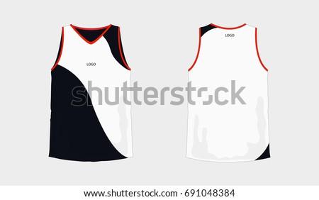 Tshirt White Black Basketball Football Template Stock Vector