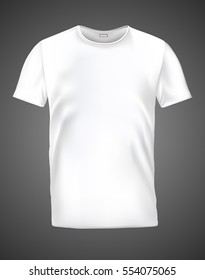 T-shirt white on a gray background. Realistic illustration of a blank T-shirt. Vector illustrations.