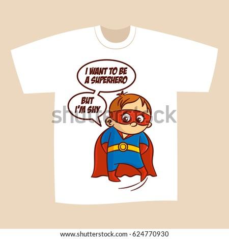 b32dcda7 Tshirt White Print Design Superhero Vector Stock Vector (Royalty ...