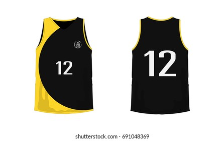 T-shirt yellow and black basketball or football template for team club on white background. Jersey sport, vector illustration eps 10.