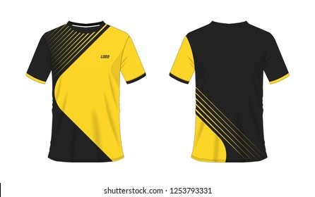 T-shirt yellow and black soccer or football template for team club on white background. Vector illustration eps 10.