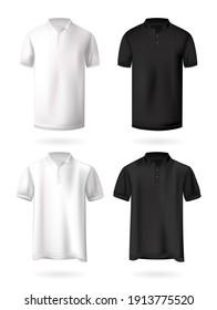 T-Shirts mockup set, realistic design vector illustration on white background