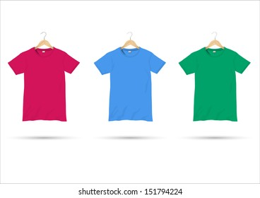 T-shirts on hangers. Vector set
