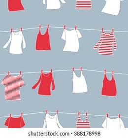 T-shirts, tank tops and vests drying on clothesline. Seamless pattern. Red.
