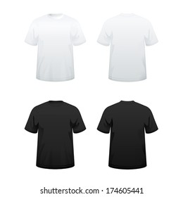 T-shirts in white and black color variations
