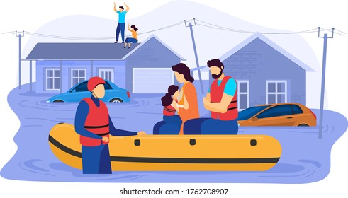 Tsunami consequences, rescue male female character evacuation save inflatable boat people victim flood isolated on white, cartoon vector illustration. Natural disasters, person affected high water.