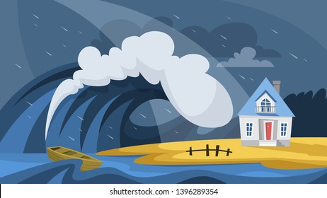 Tsunami disaster. Big wave cover the house. Disaster and catastrophe, natural hurricane. Storm in the ocean. Vector illustration in cartoon style